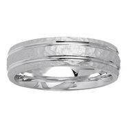 6mm Hammered Finish Mens Ring