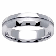 6mm Mens or Womens Wedding Ring in White Gold