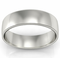 6mm Platinum Wedding Ring Milgrain