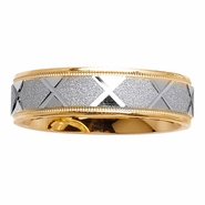 6mm Two Tone Wedding Ring with Comfort Fit 14kt Gold for Men or Women