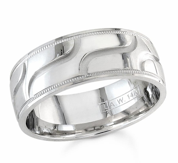 7.5mm Mens Wedding Band Comfort Fit - click to enlarge