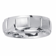 7mm Mens Wedding Ring in White Gold
