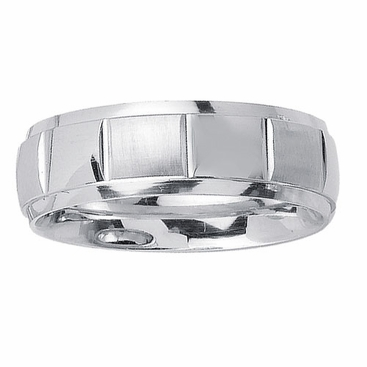 7mm Mens Wedding Ring in White Gold - click to enlarge