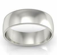 7mm Milgrain Wedding Band in 14k