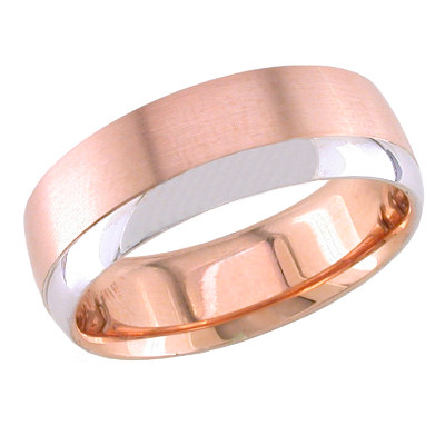 7mm rose gold ring for men with white gold accent - Mens Rose Gold Wedding Rings