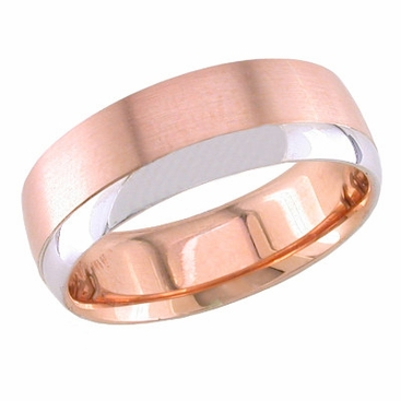 7mm Rose Gold Ring for Men with White Gold Accent - click to enlarge
