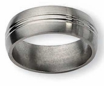 8mm Domed Titanium Ring with Center Grooves