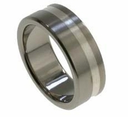 8mm Flat Titanium and Silver Wedding Band