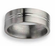 8mm Flat Titanium Ring with Center Grooves