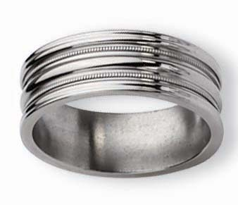 8mm Grooved Titanium Ring High Polish Finish