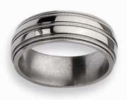 8mm Grooved Titanium Wedding Ring High Polish Finish