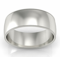 8mm Milgrain Wedding Band in 14k