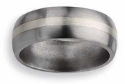 8mm Titanium and Silver Wedding Ring Matte Finish