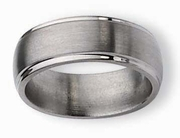 8mm Titanium Wedding Ring Step Edge Matte Finish