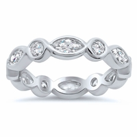 Alternating Bezel Set Marquise and Round Diamond Eternity