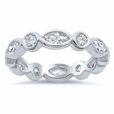 diamond p band set bezel platinum polish wedding high eternity bands modern vintage c