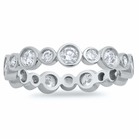 Alternating Bezel Set Scalloped Diamond Eternity Band