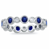 Alternating Diamond and Sapphire Bezel Eternity Band