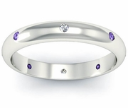 Amethyst and Diamond Domed  Landmark Eternity Ring
