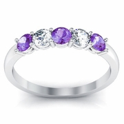 Amethyst Birthstone and Diamond Ring