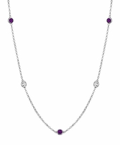 Amethysts and SI Diamonds by the Inch Station Necklace
