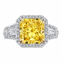 'Anastasia' Fancy Intense Yellow Diamond Engagement Ring