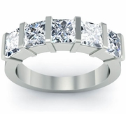 Anniversary 5 Stone Ring with Princess-Cut Diamonds Certified by GIA