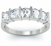 Anniversary Diamond 5-Stone Ring with Round-Cut Diamonds Certified by GIA