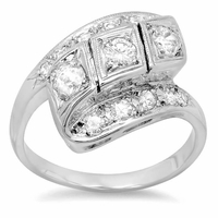 Antique Style Bypass Diamond Ring 14kt White Gold 0.85cttw