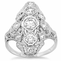 Antique Style Three Stone Dinner Ring 1.35cttw 18kt White Gold