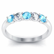 Aquamarine and Diamond 5 Stone Ring