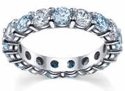 Aquamarine and Diamond Birthstone Eternity Ring