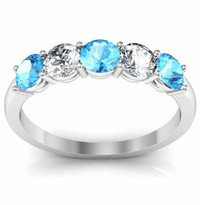 Aquamarine and Diamond Gem Stone Ring