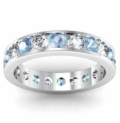 Aquamarine and Diamond Round Gemstone Eternity Ring in Channel Setting