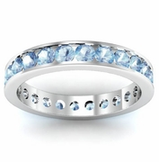 Aquamarine Eternity Band in Channel Setting