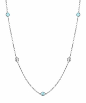Aquamarines and I1 Diamonds Bezel Necklace
