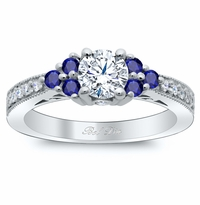 Art Deco Diamond Engagement Ring with Sapphire Clusters