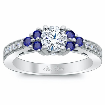 Art Deco Diamond Engagement Ring with Sapphire Clusters - click to enlarge