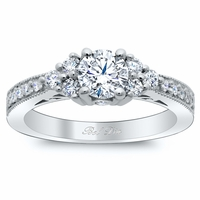 Art Deco Engagement Ring with Diamond Clusters
