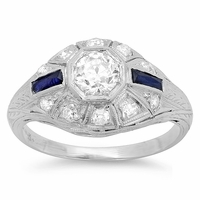 Art Deco Engagement Ring with Diamonds and Sapphires in Platinum