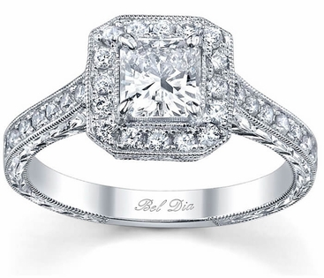 Art Deco Engagement Ring with Milgrain and Hand Engraving - click to enlarge