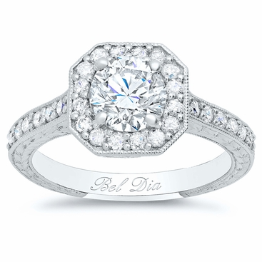 Art Deco Square Halo Setting for Round Diamond or Moissanite - click to enlarge