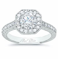 Art Deco Square Halo Setting for Round Diamond or Moissanite