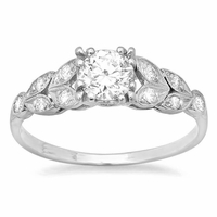 Art Nouveau Engagement Ring 0.70cttw Platinum