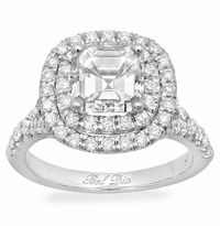 Asscher Baby Split Rounded Double Halo Engagement Ring