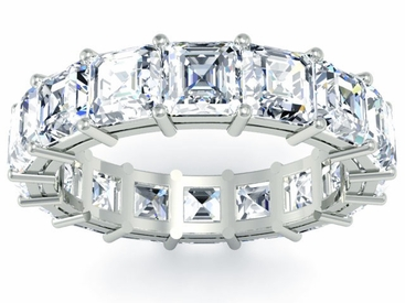 Asscher Cut Eternity Band Platinum or Gold - click to enlarge
