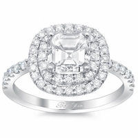 Asscher Double Halo Engagement Ring