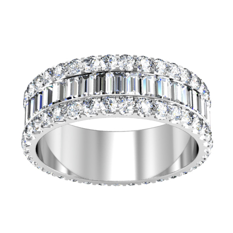 Baguette Eternity Band With U Pave Round Diamonds