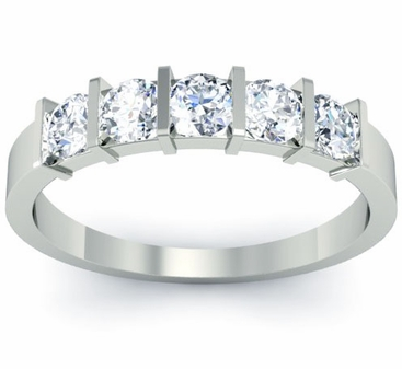 Bar Set 5 Stone Diamond Ring - click to enlarge