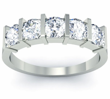 Bar Set 5 Stone Wedding Ring - click to enlarge